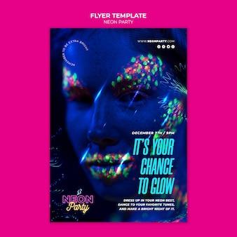 Neon party flyer vorlage