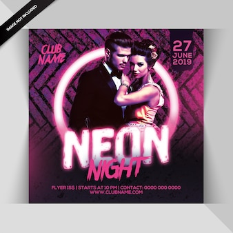 Neon party flyer