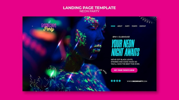 Neon party landing page