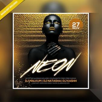 Neon party nacht flyer
