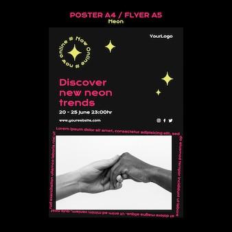 Neon-plakatvorlage für neue online-trends