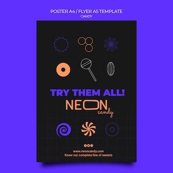 Neon-plakatvorlage für süßwarenladen