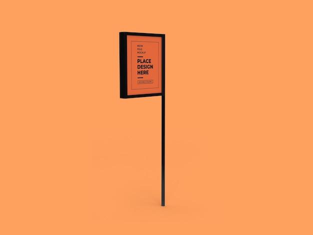 Neon pole sign mockup design isoliert