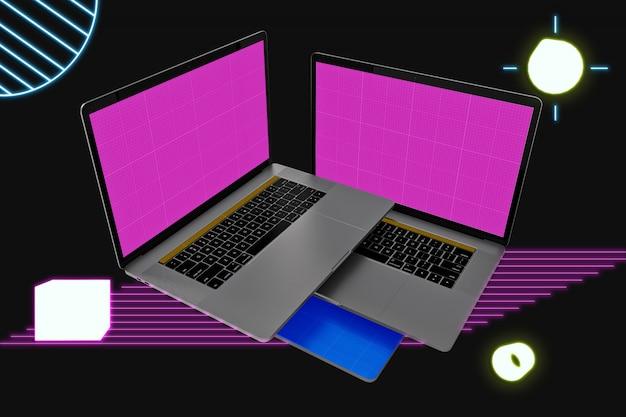 Neon schwimmender laptop