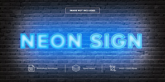 Neon sign text effekt design layer style