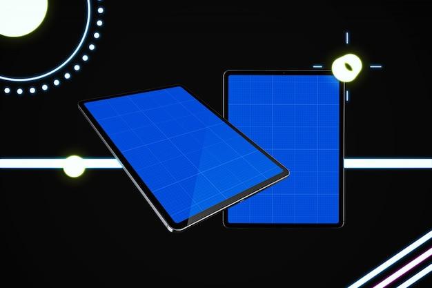 Neon silber tablet mockup