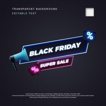 Neon-stil schwarzer freitag 3d-texttitel