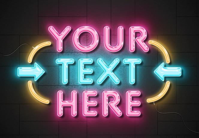 Neonzeichen-texteffekt auf paneelwand mit drähten