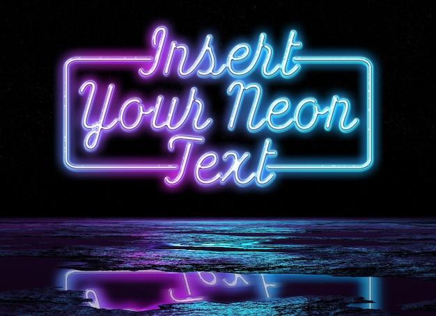 Neonzeichen-texteffekt, der im nassen boden reflektiert