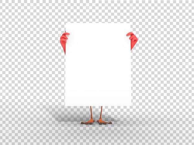 Nette bunte maskottchen-illustration des charakters 3d, die weißes leeres plakat mit transparentem hintergrund hält