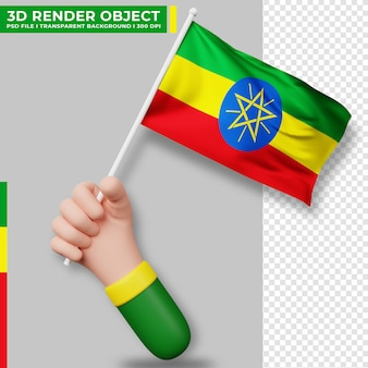 Nette illustration der hand, die äthiopien-flagge hält. tag der unabhängigkeit äthiopiens. länderflagge.