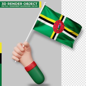 Nette illustration der hand, die dominica-flagge hält. dominikanischer unabhängigkeitstag. länderflagge.
