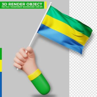 Nette illustration der hand, die gabun-flagge hält. gabuner unabhängigkeitstag. länderflagge.