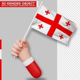 Nette illustration der hand, die georgia-flagge hält. georgien unabhängigkeitstag. länderflagge.