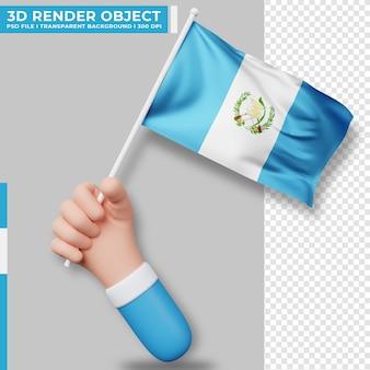 Nette illustration der hand, die guatemala-flagge hält. tag der unabhängigkeit guatemalas. länderflagge.
