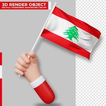Nette illustration der hand, die libanesische flagge hält. tag der unabhängigkeit des libanon. länderflagge.