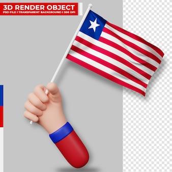 Nette illustration der hand, die liberia-flagge hält. tag der unabhängigkeit liberias. länderflagge.