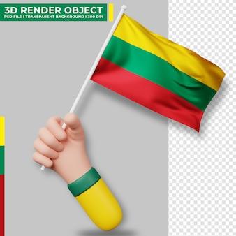 Nette illustration der hand, die litauen-flagge hält. tag der unabhängigkeit litauens. länderflagge.