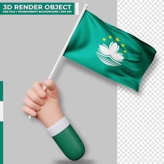 Nette illustration der hand, die macau-flagge hält. unabhängigkeitstag von macau. länderflagge.