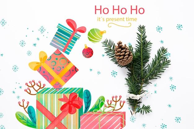 Nette weihnachtsgeschenke der draufsicht