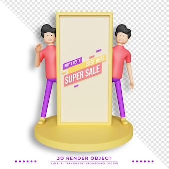 Netter charakter der illustration 3d, der verkaufsförderungsfahne hält. werbebanner für shops.