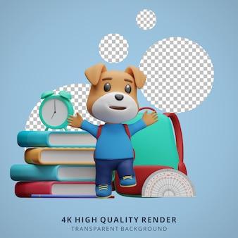 Netter hund zurück zu schulmaskottchen 3d-charakterillustration glücklich