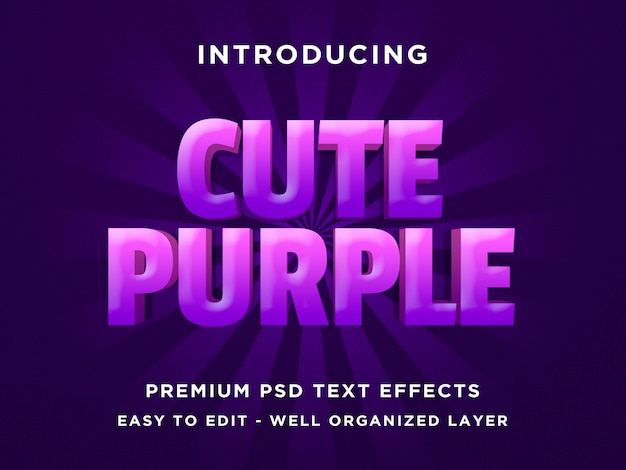 Nettes purpur - art-gusseffekt psd-schablonen des text-3d