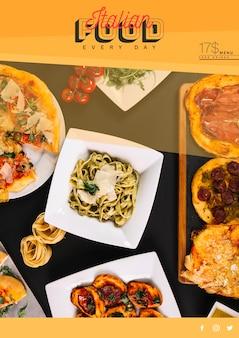 Netzfahnenschablone mit italienischem lebensmittelkonzept