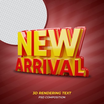 Neue ankunft rote farbe 3d-rendering-text