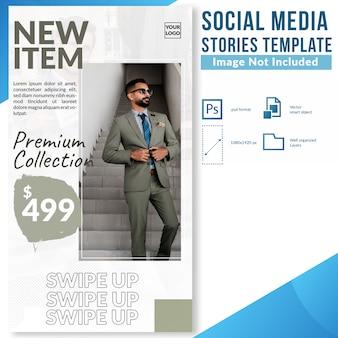 Neue ankunftsmodeverkaufsrabatt-social media-geschichtenweb-fahnenschablone