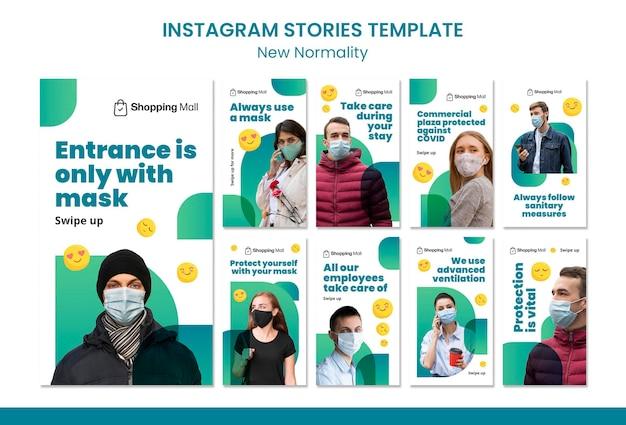 Neue designvorlage für die insta-story für normalität