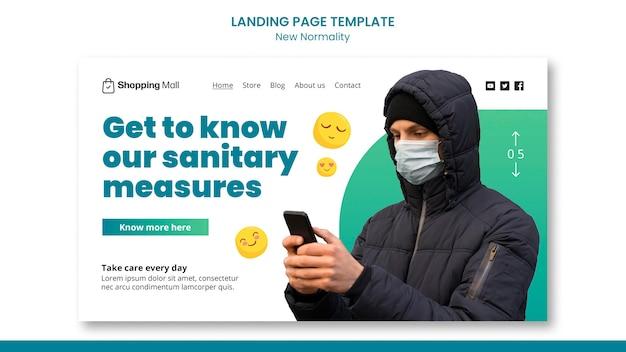 Neue designvorlage für die landingpage für normalität