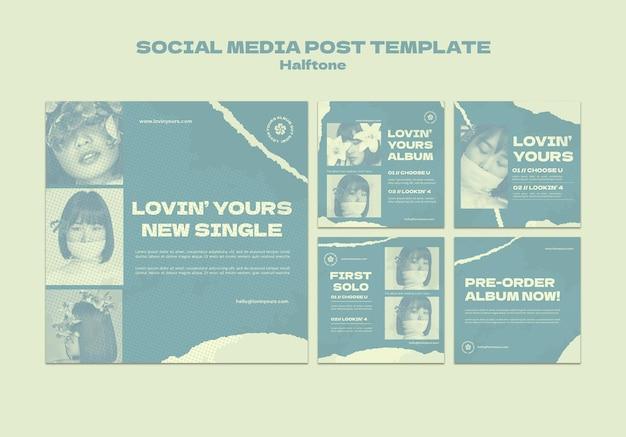 Neue einzelne social-media-beiträge im halbtonstil