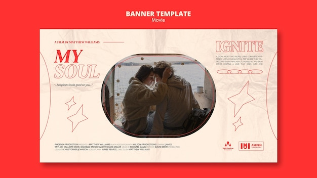 Neue horizontale bannervorlage für filme
