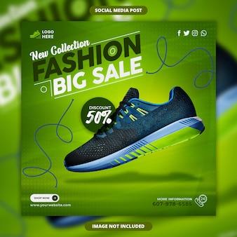 Neue kollektion fashion big sale social media banner und instagram post vorlage