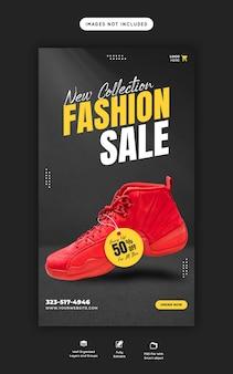 Neue kollektion modeverkauf instagram und facebook story banner vorlage