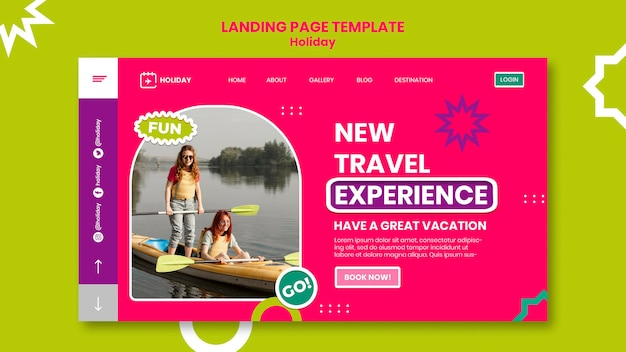Neue landingpage-vorlage für reiseerlebnisse