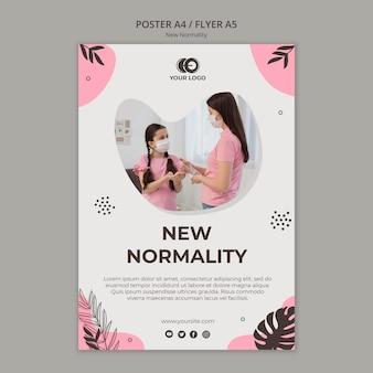 Neue normalitäts-flyer-vorlage