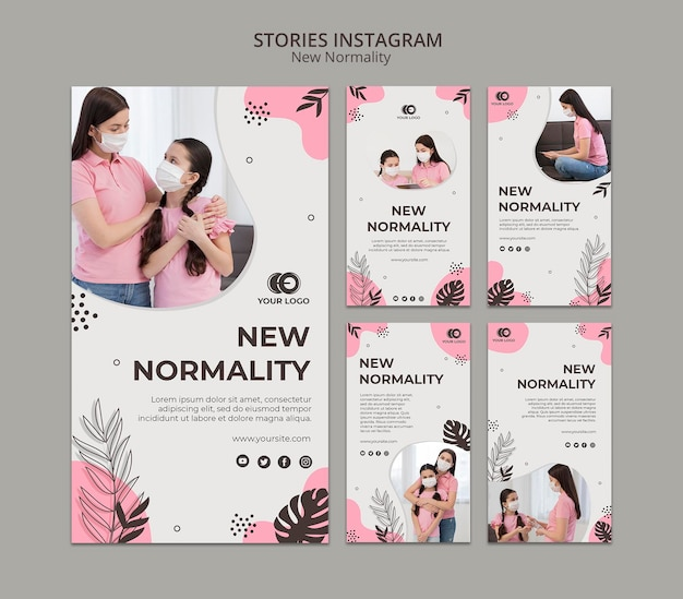 Neue normalitäts-instagram-geschichten