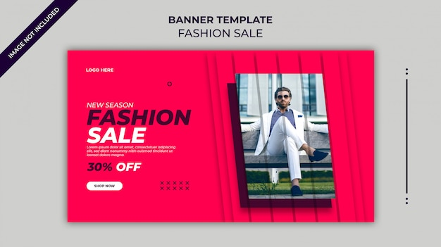Neue saison modeverkauf web-banner oder instagram-banner-vorlage