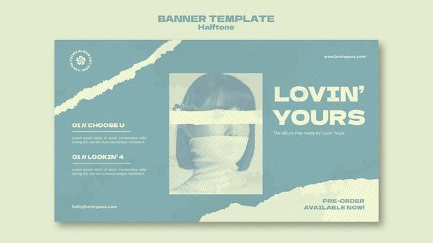 Neue single-banner-vorlage im halbton-stil