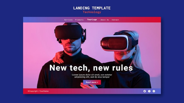 Neue technologie landing page template design