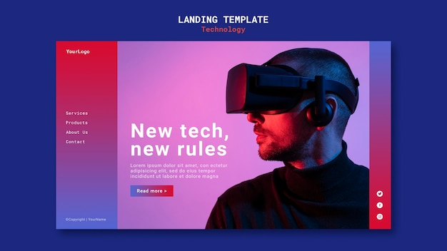 Neue technologie landing page template design