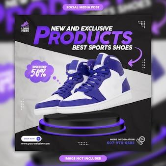 Neue und exklusive produkte bester sportschuhverkauf social-media-banner und instagram-post-vorlage