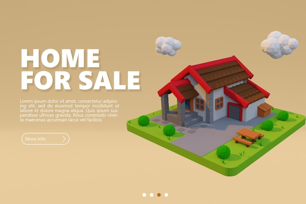 Neues haus zum verkauf banner mit cartoon-stadthaus-rendering