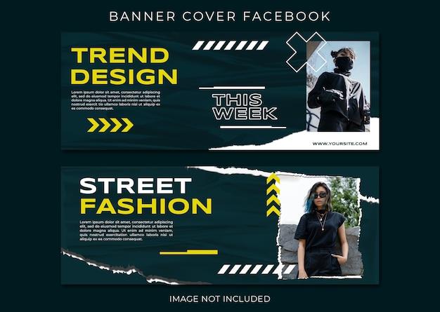 Neues produkt modeverkauf cover facebook template set