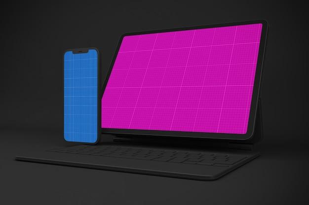 Neues smartphone 12 & digital tablet pro mockup