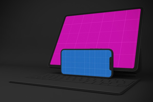 Neues smartphone 12 & digital tablet pro mockup