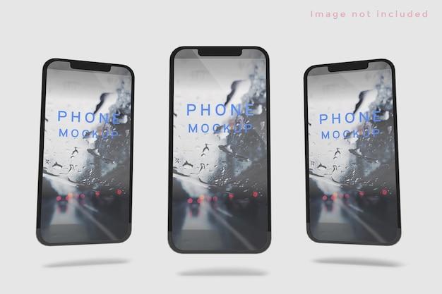 Neues smartphone-set modell schwebend isoliert
