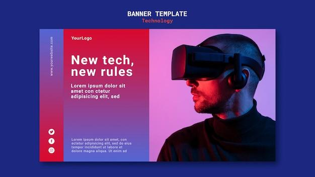 Neues technologie-banner-vorlagendesign Kostenlosen PSD